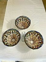 (3) Vintage Tiffany Style Stained Glass Lamp Light  Shades