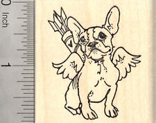 Valentine's Day French Bulldog Rubber Stamp, Dog as Cupid with Arrows G26609 WM