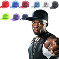 NEW Men's Blank Plain Snapback Hats Unisex Hip-Hop adjustable Bboy Baseball Cap