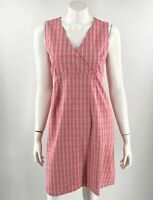 VTG 90s Announcements Maternity Dress Medium Pink Checkered Tie Back Sleeveless