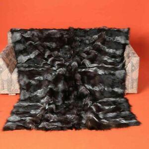 Silver Halfskins Fox Fur Blanket Bedspread Throw