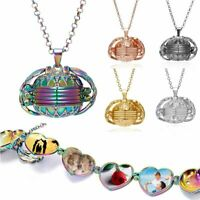New 4 Photos Memory Floating Locket Round Pendant Necklace Women Flash Album Box