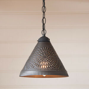 Wellington Kettle Black Punched Tin Country Farmhouse Pendant Ceiling Light