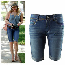 New classic blue washed mid-rise denim Bermuda shorts plus size 8-20