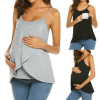 Maternity Pregnant Blouse Vest Tops Casual Strappy Nursing Breastfeed Cami Women
