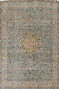 MEMORIAL DEAL Antique Overdyed Floral Tebriz Evenly Low Pile Handmade Rug 8'x11'