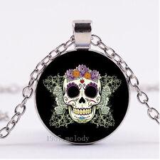 Photo Cabochon Glass necklace Silver Fashion pendant purple sugar skull