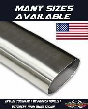 """4"""" 304 Stainless Oval Exhaust Tubing - American Made - Price Per Foot"""