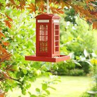 Bird Feeder Traditional Red Phone Box Feeding Station Hanging Seed Nut