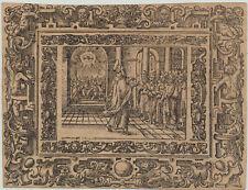 GOTT Dreifaltigkeit Orig Ornament Holzschnitt um1650 Monogramm Prophet Rollwerk