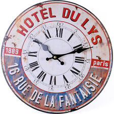 Vintage Style Shabby Chic French Paris Hotel du Lys Wall Clock - BNIB