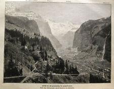 LAUTERBRUNNEN - Wengernalpbahn - SCHWEIZ. Orig. Holzstich 1893