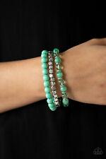 Paparazzi Jewelry Globetrotter Glam Green Silver Beads Stretchy Stack Bracelet