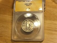 1917 TYPE 1 Standing Liberty Quarter ANACS F15  NICE!!  SILVER!! FREE SHIPPING!!
