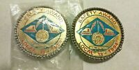 Pair of '94 Boilermaker's local union 13 safety award round vintage belt buckles