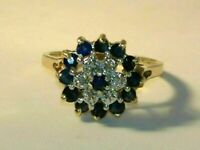 2 CT Blue Sapphire & Diamond Cluster Flower Engagement Ring 14K Yellow Gold Over