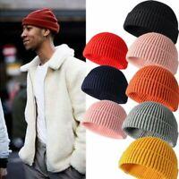 Cuff Beanie Knit Hat Cap Slouchy Skull Ski Men Women Plain Winter Warm Hats