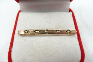 Antique 9ct Rose Gold Bar Brooch Set With Seed Pearls