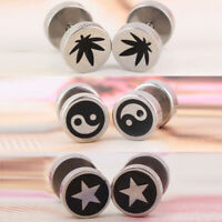 1 Pair Men's Punk Gothic Stainless Steel Screw Back Stud Earrings Round