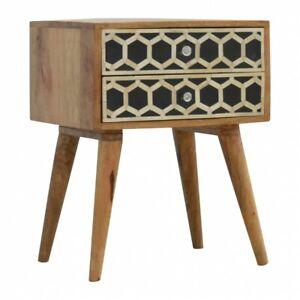 Art Deco Bedside Table Bone Inlay Geometric 2 Drawers Scandinavian Solid Wood