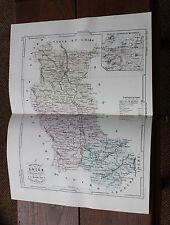 1850 Carte Géographique Atlas époque couleur Département 42 Loire Montbrison