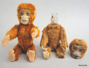 Schuco Perfume Monkey x 2 Cinnamon Mohair Plush over Metal 1930s 5in 13cm Vanity
