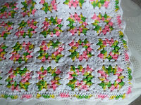 """Granny Square Afghan Blanket Throw  White w/ Pink Yellow Green  29"""" x 42"""""""