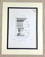 1825 Antico Architettonico Incisione Tuscan Colonna Ordine Architettura Stampa