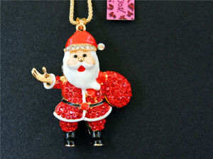 Betsey Johnson Red Rhinestone Father Christmas Pendant Chain Necklace