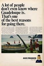 1965 Air France Airlines To Paris and Guadeloupe Trinidad PRINT AD