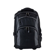 """Black carry-on rolling 15"""" laptop case student school mesh wheeled backpack"""