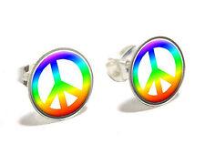 Peace Sign Rainbow Novelty Silver Plated Stud Earrings