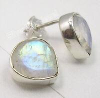 "925 SOLID Silver Amazing RAINBOW MOONSTONE Gem HEART DECO Studs Earrings 0.4"""