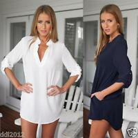 Womens Blouse Chiffon Long Sleeve Ladies Shirt Dress Loose Short Casual Tops UK