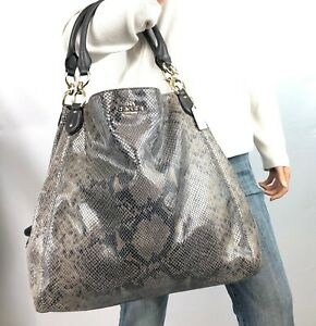 COACH RARE LRG Brown Tonal Exotic Snake Print Leather Madison Maggie Hobo #33443