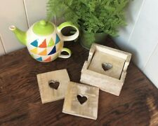 Shabby Rustic Limewashed Wooden Heart 6 Coasters & Wood Holder 10x10cm