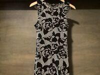 Apt 9 Women's Size SMALL Sleeveless, Black IVORY GEOMETRIC THIN FIT FLARE DRESS