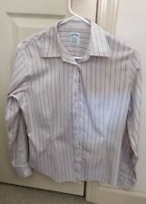 Brooks Brothers cotton Women Pink Stripe Fitted  Button Down Shirt Size 8