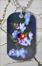 Pendant Necklace Free Chain -hmd4Z Ladybug On Blue Flower Dog Tag