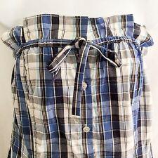 Venus Plaid Blue Strapless Mini Dress Button Front Shirt Dress