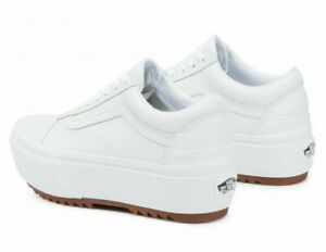 Vans Old Skool Stacked Platform Shoes Women's Size 7 Leather True White