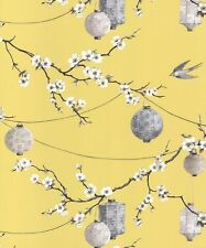 Arthouse Opera Chinese Garden Yellow Floral Feature Wallpaper 695401