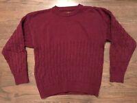 Eddie Bauer Men's 100% Cotton Natural Cable Knit Sweater Size L Large Maroon