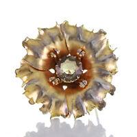 Art déco Designer Anhänger Brosche Form Blume Silber 935 vergoldet Rauchquarz