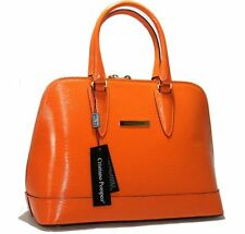 Authentic Cristiano Pompeo Italy handbag bag purse alma epi leather orange luxe