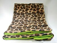 "Leopard Print Baby Blanket Fleece Soft Polyester Lime Green Back 33"" x 30"" T3"