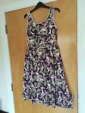 Ladies TU Dress Size 8 Purple Floral Cotton Summer Sun Day Smart Casual