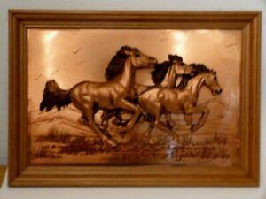 """Vintage Signed JOHN LOUW 3D Framed Copper Art Galloping Horses 20"""" x 13.5"""""""