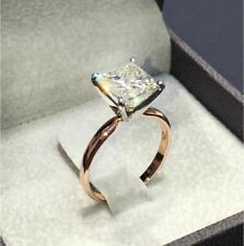 Exquisite Rose Gold Filled Princess White Sapphire Wedding Bridal Ring Size 10