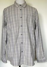 ExOfficio Brown Plaid Nylon Blend Button-Front Roll-Tab L/S Mesh Vented Shirt XL